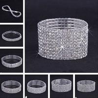 Free Shipping Wholesales Top Grade 1-10 Row Czech Rhinestone Silver Elastic Thread Bride Bracelet For Women Best Gift Bangle 209
