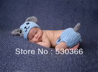 Free shipping The blue dog style baby hat and shawl handmade crochet photography props newborn baby cap and shorts