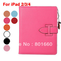 Litchi Pattern Design Leather Protective Case with Stand Sleep Function for iPad 2/3/4 10pcs/lot