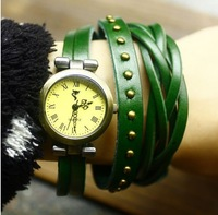 2013 New women Fashion Proud of weaving and rivets three times leather bracelet watch wholesale