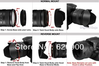100% Professional 52MM Reversible Petal Flower Lens Hood +lens cap  for Nikon D7000 D5200 D5100 D3200 D3100
