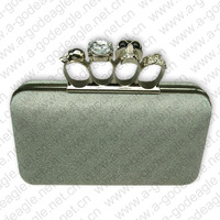 White party knuckle skull ring clutch evening bag designer purses ladies handbags for lady crystal 6041-3