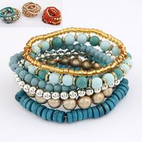 Fashion Euro Bohemia Style Blue Tibet Wood Beads Strand Multilayer Stretch Bracelet ForWomen Wholesale