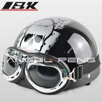 2014 Hot Goggles Motorcycle Half Face Motorcycle Racing Helmet Motorbike Bright black silver skull Helmet/ Free Shipping