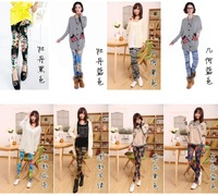 2013 New Arrival Fashion Women Casual Legging Pants 8 Colors with Printed Scrawl/Glaxy/Camouflage/Flower Pattern Leggings warm