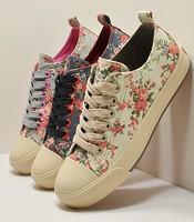 Zapatillas Deportivas Mujer Fashion Women Floral Canvas Sneakers Korean Platform Shoes Woman Casual Tenis Sapatos Femininos