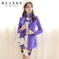 2013 autumn and winter ruffle Flouncing slim wool coat purple  outerwear