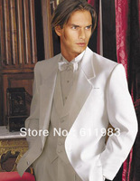 Top selling/Free shipping/custom made white Lapel Groom wear Tuxedos Best Man for dress Groomsmen Wedding bridegroom Men's suit