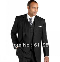 new custom made cheap Best selling Black Stripes Groom Tuxedos Best Man bridegroom men's Suits Wedding groomsmen wear for suits