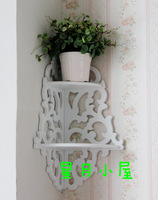 Home corner cutout moon and stars double layer wall shelf flower rustic wall clapboard white