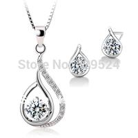 Drop Necklace Jewelry set silver materail wedding jewelry