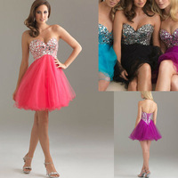 Sweetheart Tulle Beaded Top Short  Sexy Purple Cocktail Dresses