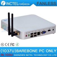 fanless mini pcs barebone with IVB platform Intel Celeron dual-core C1037U 1.8GHz CPU Integrated graphics HD Graphics L3 2MB