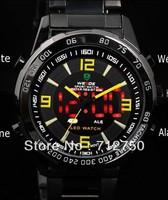 Free Shipping WEIDE All Black Analog Digit Multi-Purpose Illuminated Men Diver Sports Watch Japan Quartz Movt Relogio Luxury