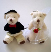200pcs/lot free shipping 6CM MINI wedding bears plush stuffed toy couple bears doll/wedding gift