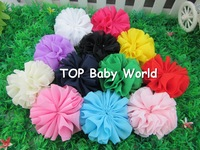"Fashion 2.4"" solid chiffon hair flower for baby,hair accessories,baby flower,kids hair accessories,50pcs/lot"