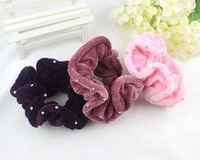 new   Korea style flower hair accessories for women  with diamond girls ponytail holder  headress  24 pcs/lot   free shipping
