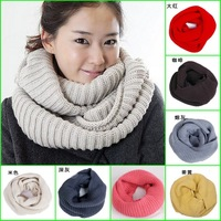 High-grade cashmere winter solid color scarf winter knitted collar  yarn Candy color  Ring Muffler Wool scarf knitted scarves