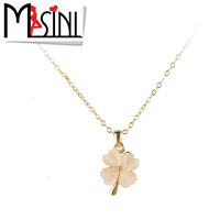 free shipping Accessories necklace fashion gold plated four leaf clover necklace female short design chain gift  free shipping