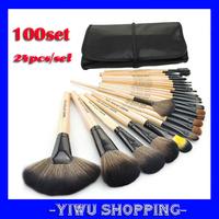 Wholesale 100sets Wood Color Professional 24 PCS Makeup Brushes Set Make-up Brush Kit Free Shipping