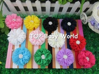 "Fashion 2.4"" solid chiffon flower with rhinestone with soft headbands,baby headbands,kids hair accessories,30pcs/lot"