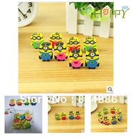 Quality goods   Despicable Me  Cartoon Eraser set(4pcs Eraser+1pcs Bag)  Free shipping 15set/lot