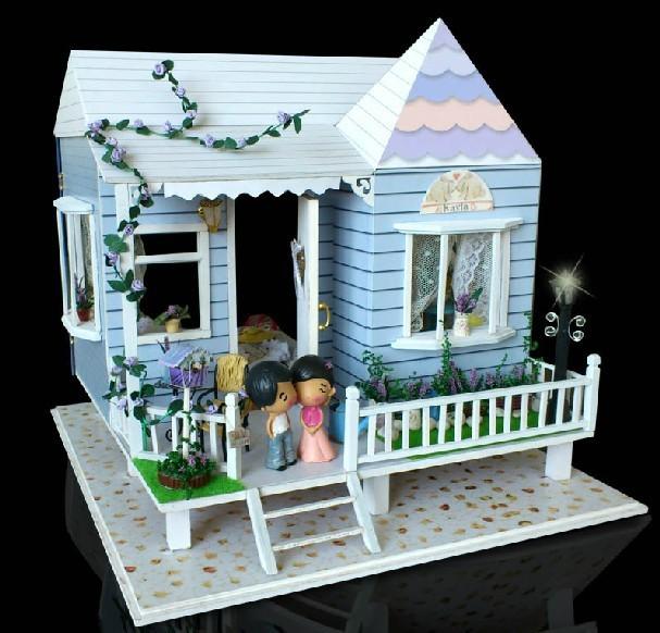 Diy Led Light Wooden Dollhouse Miniatures Beach House
