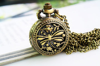 UPS146581#  New style Retro quartz  pocket watch with Metal chain,best gift ,free shipping