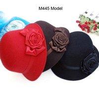 Wholesale Fashion Design Big Rose Women Black Cloches Pretty Ladies Red Bucket Hat Elegant Lady Elegant Dress Cloche Hats Retail