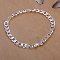 Free Shipping 925 Sterling Silver Bracelet Fine Fashion 6MM Sideways Silver Jewelry Bracelet Bangle Top Quality SMTH245
