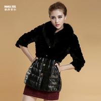 2013 leather coat rex rabbit hair fur down coat fox fur