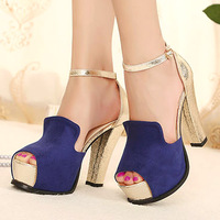 Platform colorant match women's thick high-heeled shoes fashion leg strap sandals open toe shoe
