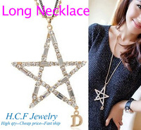 2013 New Gift Fashion Crystal Accessories Popular Wholesale Star 18K GP Gold-Plated Long Necklace Sweater Chain Free Shipping