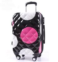 universal wheels trolley luggage travel bag 20 large polka dot luggage