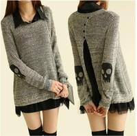 Free Gift 2916 autumn skull twinset chiffon shirt sweater