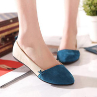 Free shipping, new shoes pointed flat shoes wild , mixed colors suede flat with pointed flat shoes women shoes