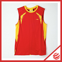 Men Badminton Tshirt Badminton Racing Suit Red Sleeveless Vest  Lining  Jersey AVSD003