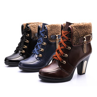 2013 new winter wool ladies boots thick with high heel Martin boots anti-slip leather warm boots Women's fashion shoes