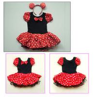 Kids Best Gift Minnie Mouse Pary Fancy Costume Ballet Girls Tutu Dress+Ear 2-8Y