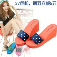 Summer high-heeled wedges drag platform sandals women's slippers