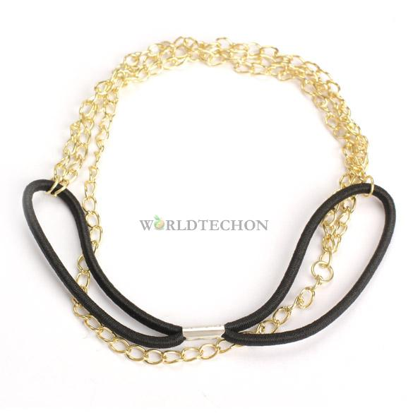 W7Tn Vintage Girl Hairband Alloy Headband Gold Chain Ru