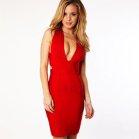 European and American brand factory outlets sexy V-neck stretch behind Slim package hip dress bandage dress 28006 Features