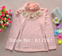 Free shipping wholesale children's lace bottoming shirt cotton long-sleeved t-shirt princess girls bottoming shirt(4pcs/lot)