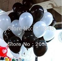 100PCS/lot=50pcs White+50pcs Black White 10inch Latex Round Balloons Party Wedding Birthday Decoration