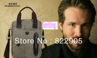 Portable men's fashion tote one shoulder messenger bag canvas casual commercial handbag Korean style