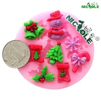 (5pcs/lot) DIY silicone molds for cake decorating fondant mold christmas snowman series sugar craft tools soap chocolate mould