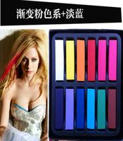 free shipping Fashion popular short design 12 hair color chalk disposable stick hair dye hairchalk hair pen