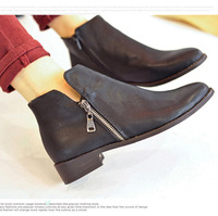 Free shipping Vintage fashion british style toe side zipper martin  low-heeled comfortable casual boots