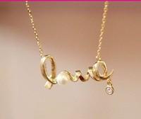 Fashion Accessories Unique Love Necklace Concise Necklace Pearl Necklace