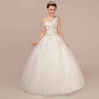 Winter the bride wedding dress formal dress one shoulder diamond 2013 maternity plus size wedding dress mm